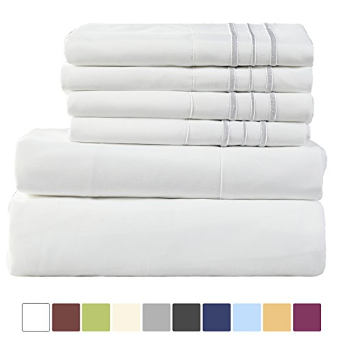 EASELAND 6-Pieces 1800 Thread Count Microfiber Bed Sheet Set-Wrinkle & Fade Resistant,Deep Pocket,Hypoallergenic Bedding set,Full,White - Pillow Top Twin Set