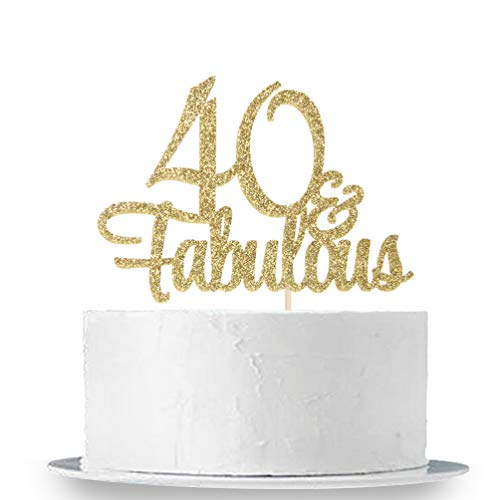 40th Birthday Party Cakes - INNORU Gold Glitter 40 & Fabulous Cake Topper - 40th Birthday Party Decoration Sign - Adult Birthday Party Supplies