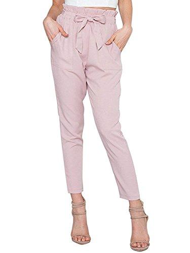 Donna Slim Vita Vita Libero Autunno Pantaloni Pantaloni Accogliente Elastica Inclusa Pantaloni Pantaloni Stile Tempo Chic Tasche Fit Anteriori Business Modern Cintura Rosa Alta Lunga Cute Primaverile rOrPqA