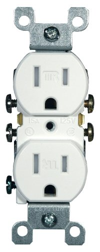 Leviton T5320-W 15 Amp, 125 Volt, Tamper Resistant, Duplex Receptacle, Residential Grade, Grounding, White (Grounding Receptacle Duplex Electrical)