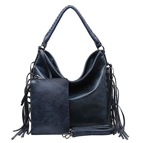 SHOMICO Hobo Bag for Women Boho Purses and Handbags Fringe Bags Taupe Brown Large Big Oversize (Daisy Blue) (Boho Hobo)