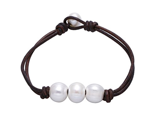 Pearl and Dark Brown Leather Knotted Bracelet