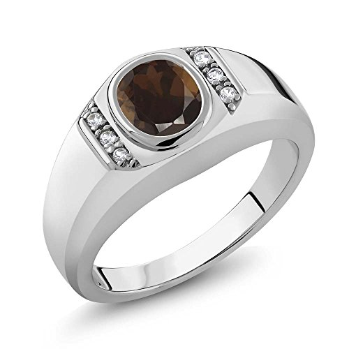 [1.26 Ct Brown Smoky Quartz White Created Sapphire 925 Sterling Silver Men's Ring] (Brown Sapphire)
