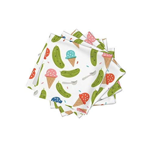 Roostery Ice Cream Linen Cotton Cloth Cocktail Napkins - Pickles Pregnant Baby Shower Ice Cream and Pickles Food Mom by Ellolovey (Set of 4) 10 x 10in