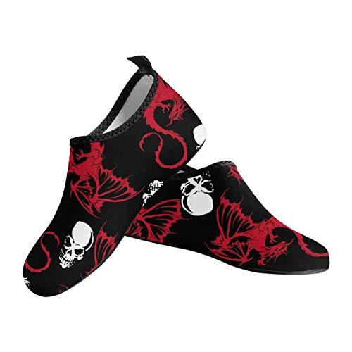 INTERESTPRINT Men's Aqua Water Shoes Dragon Skull Beach Shoes for Beach Swim Surf Yoga Exercise US12-US13