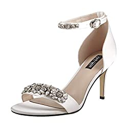 Rhinestone Embellished High Heel White Sandal with Ankle Strap