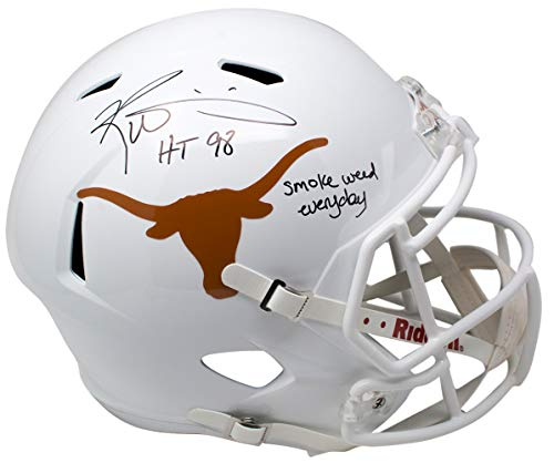 Ricky Williams Signed Texas Longhorns Full Size Speed Replica Helmet Smoke Weed Every Day Inscription ()
