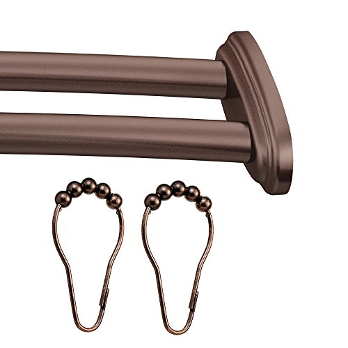 Moen DN2141-RR-OWB Adjustable Double Curved Rod with Shower Curtain Roller Rings, Old World Bronze