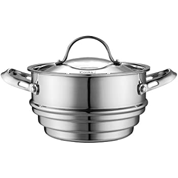 Cooks Standard Multi-Ply Clad Stainless Steel Universal Steamer Insert with Lid, Fits 6.25, 7, and 8-Inch Cookware