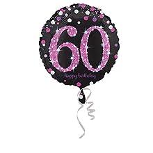 Amscan – 3378801 celebración 60th Foil Balloon prismáticas , color/modelo surtido