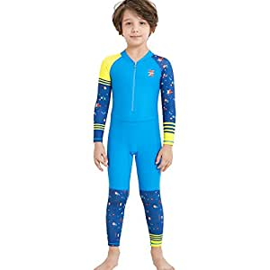 Dark Lightning Boys Full Body Suits, Kids UV Protective Swimwear, One Piece Long Sleeve Lycra Rash Guard Technical Swimsuits for Child, Blue, S