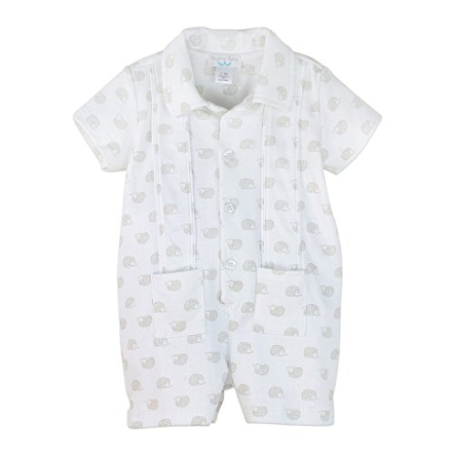 Pleated Guayabera (Feather Baby Boys Clothes Pima Cotton Short Sleeve Pleated One-Piece Shortie Romper)
