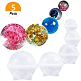 (Set of 5)DIY Sphere Round Silicone Mold for Resin Epoxy Jewelry Making Candle Wax Homemade Soap DIY Plastic Bath Bomb Mold -5 Different Size ice Ball molds