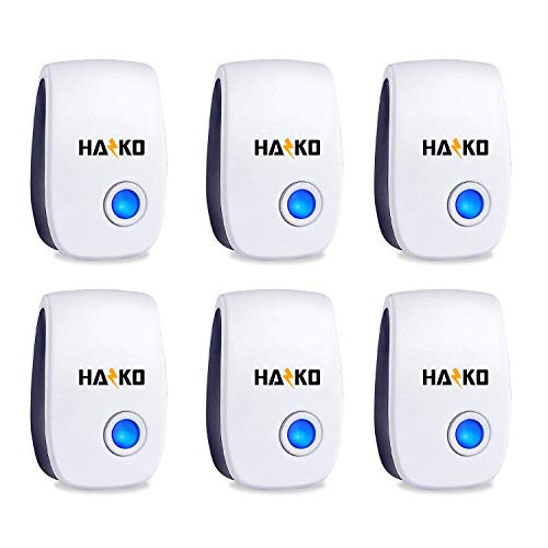 HAZKO Ultrasonic Pest Repellent - Electronic Pest Control - Best Indoor Ultrasonic Pest Repeller - Mice, Bugs, Ants, Insects and Cockroaches Repellent - Ultrasonic Pest Reject 2019 (6 Pack)