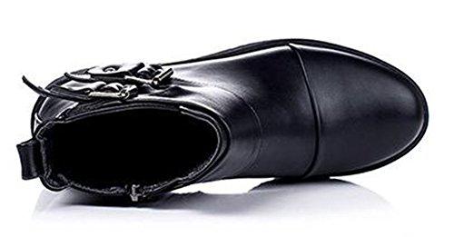 Chfso Kvinna Trendig Solid Rund Tå Med Spänne Dragkedja Låg Klack Martin Boots Svart