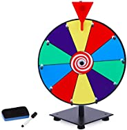 T-SIGN 12 Inch Heavy Duty Spinning Prize Wheel, 10 Slots Color Tabletop Prize Wheel Spinner with Dry Erase Mar
