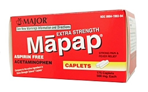 MAPAP ES 500MG CPL BOXED ACETAMINOPHEN-500 MG White 175 CAPLETS UPC 309041983946 -  Source One, 00904-1983-94