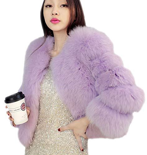 Piel De Abrigo Chaquetas Gris Claro Suave Elegantes Esponjoso Chaqueta Mujer Corto Invierno Sintética Outwear qd8zq4
