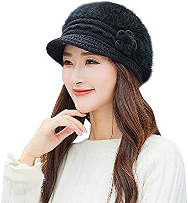 c35b57837c6 Women Winter Warm Floral Cap Beret Braided Baggy Knit Crochet Beanie Hat  Ski Cap (Black-2)
