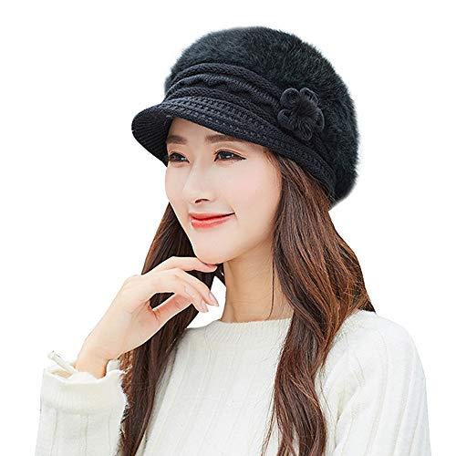 EnjoCho Clearance Sale!Women Winter Warm Floral Cap Beret Braided Baggy Knit Crochet Beanie Hat Ski Cap (Black-2) -