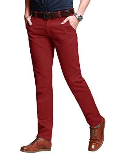 Match Men's Slim Fit Tapered Stretchy Casual Pants (32W x 31L, 8050 Red)