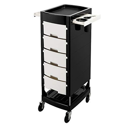 Mefeir Beauty Salon Trolley with 5 ABS Drawers, One Metal Holder, Rolling Wheels for Stylist Hairdresser, SPA Furniture Hair Styling Station Coloring Storage Cart by mefeir