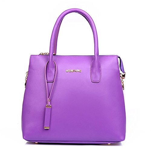 Missfox Women Sweet Candy Colored Pu Leather Top Handle Handbag Purple
