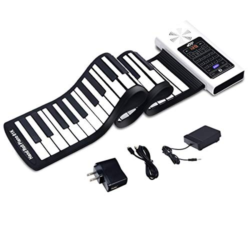 Foldable Portable Keyboard Piano, Safeplus 61 Keys Electric Roll Up Flexible Silicone Piano Keyboard for Kids Beginners Adults Gift Support MP3 Player Bluetooth Function