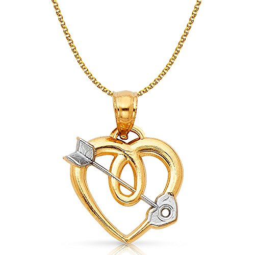 14K Two Tone Gold Heart With Cupid Arrow Charm Pendant with 1.2mm Flat Open Wheat Chain Necklace - 22