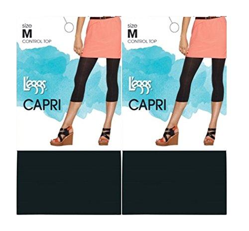 Leggs By Hanes Womens Casual Tights Capri Control Top (Medium, Black (2 Pack)) (Women Capri Tights)