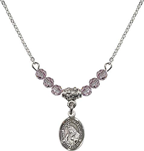 18-Inch Rhodium Plated Necklace with 4mm Light Amethyst Birthstone Beads and Saint Margaret of Cortona Charm. Purple Light Amethyst June Birthstone Patron Saint of - Light 4 Cortona