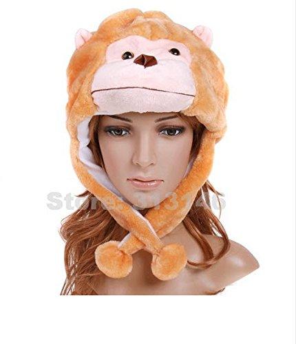 Cute Funny Plush Faux Fur Animal Stuffed Beanie Hood Hat Winter Adult Womens Mens Children Kids Boys Girls Warm Cosplay Costume (Monkey)