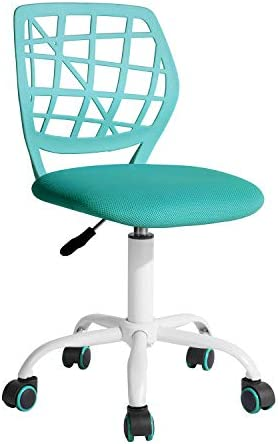 "FurnitureR Writing Task Chair 360 Swivel,Low Mid PP Mesh Back Fabric Seat, Height Adjustable, Rolling Castor,W15.7""xD15.2""x H29.5-34.2"""