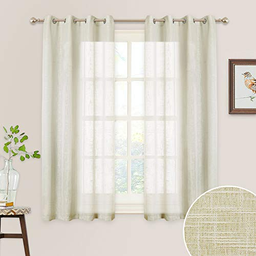 RYB HOME Linen Sheer Curtains for Bedroom, Privacy Semitransparent Voile Drapes Summer Refresh Window Curtains for Country Garden Farmhouse, Wide 52 inch x Long 45 inch, 1 Pair, Warm Beige