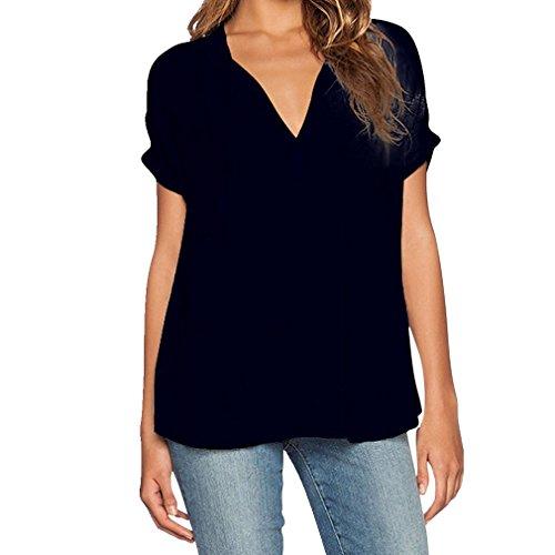 T Femmes Courtes Blouse Chiffon Shirt Chemise Cou Noir Hengsong V Tops Manches Loose qxFzwqTd
