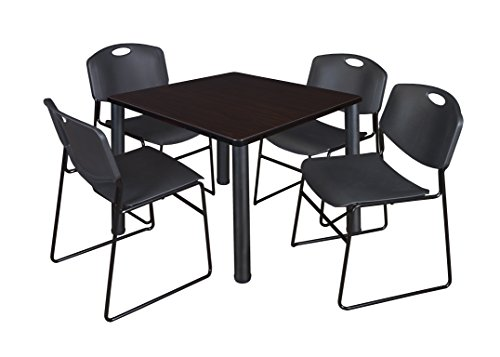"Kee 36"" Square Breakroom Table- Mocha Walnut/ Black & 4 Zeng Stack Chairs- Black"