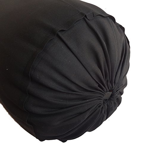 Black Bolster Pillowcase - Neck Roll Round Bolster Cover for Bed Sofa Chair Couch Lounge Cotton 6