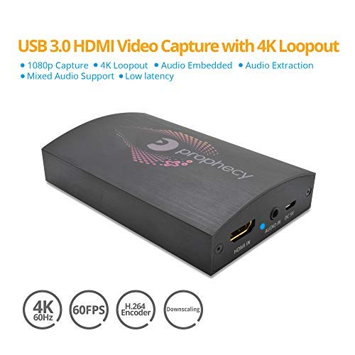 gofanco Prophecy USB 3 0 HDMI Video Capture Card Device with 4K Loopout –  Capture & Stream in 1080p, 4K @60Hz Loopout, Low Latency, Mixed HDMI &
