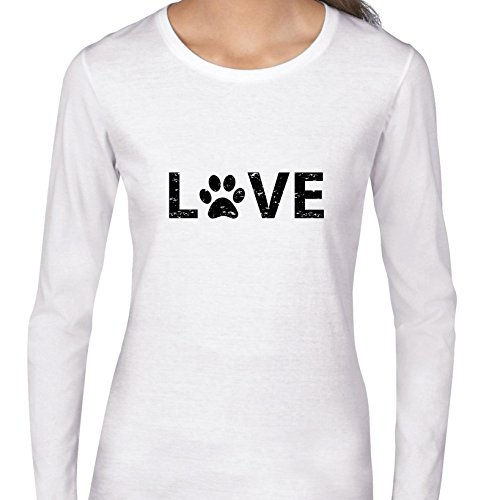 Hollywood Thread Love - Dog Paw Print For The O - Classic Popular Women's Long Sleeve (White Paw Prints)