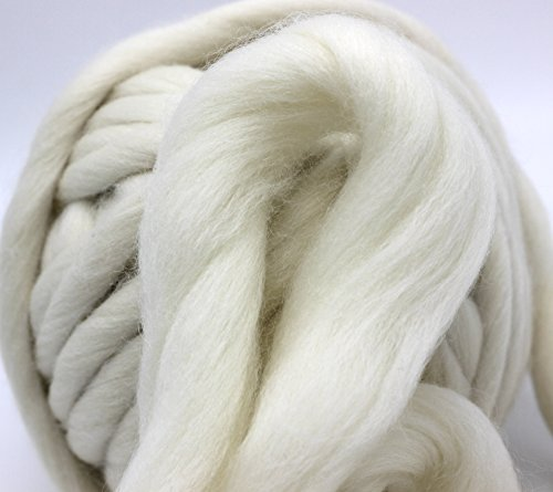 FloraKnit 100% Merino Wool Super Chunky Yarn (40mm-33 Yards, CREAM)