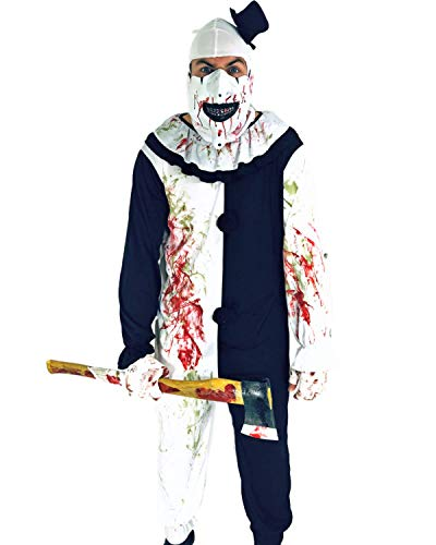 Rubber Johnnies Terrifying Clown Halloween Costume, Adult One Size, Circus Scare Black and White -