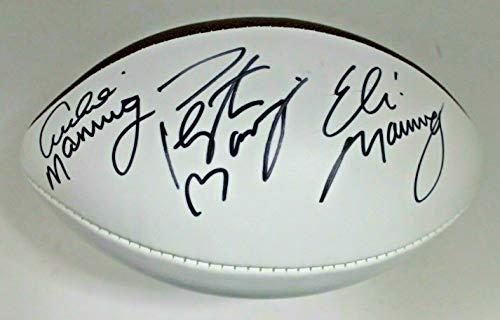 Eli Manning Autographed Football - Archie Eli Peyton Manning Triple Signed Autographed Wilson NFL Football JSA LOA