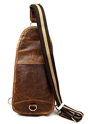 insum Retro de piel para hombre pecho bolsa de hombro Marrón - Yellow Crazy Horse