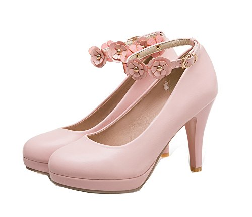 WeenFashion Pumps Pink High Buckle Shoes Solid Women's Heels Microfibre rrwYRPS
