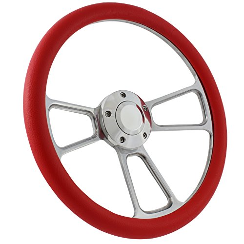 (5-bolt Steering Wheel 14 Inch Aluminum with Red Wrap and Horn)
