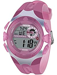 Kids Digital Watch - Water-Resistant LED Sport Hand Watch with Alarm, Chronograph - Electronic Wristwatch with Silicone Watches Band for Boys Girls - Pink