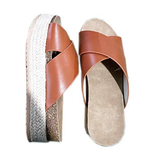 Yu Li Women's Platform Espadrilles Criss Cross Slide-on Open Toe Faux Leather Studded Summer Sandals Brown 43