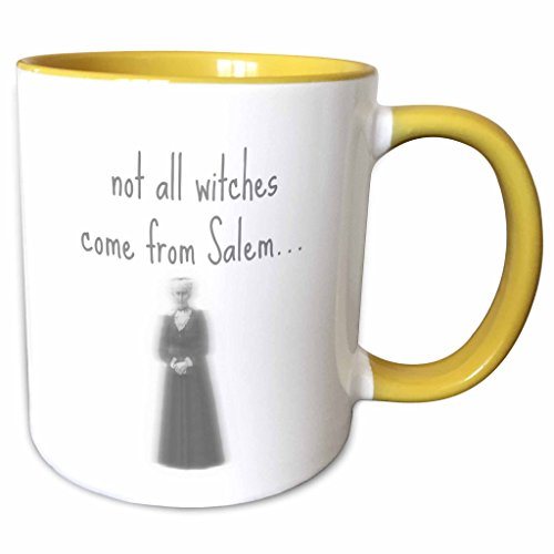 3dRose Xander movie quotes - not all witches come from Salem gray letters with picture of old witch - 15oz Two-Tone Yellow Mug (mug_201876_13) -