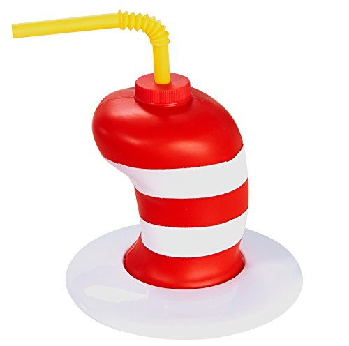 BirthdayExpress Dr Seuss Cat in The Hat Party Supplies - Striped Hat Plastic Sippy Cup with Straw]()