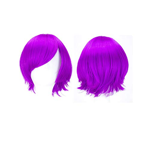 (Halloween Hair Synthetic Wigs Short Straight Hair 10 Colors Red Green Brown Purple Cosplay Wig Girls Ombre Costume Party)